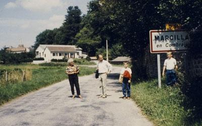 1987: Besuch von Franz-Peter Weber in Marcillat (links: Jacqueline Murat)