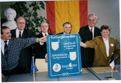 1991: Partnerschaftsfeier mit dem Kanton Marcillat und mit Faulungen (weitere Fotos siehe Jubiläen > Rückblick)